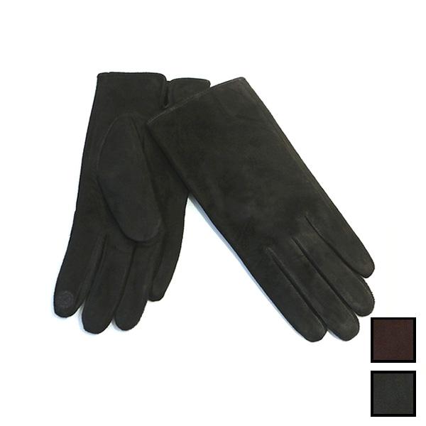 本革 手袋 暖か裏起毛ファー スエードレザーグローブ(スマートフォン対応)