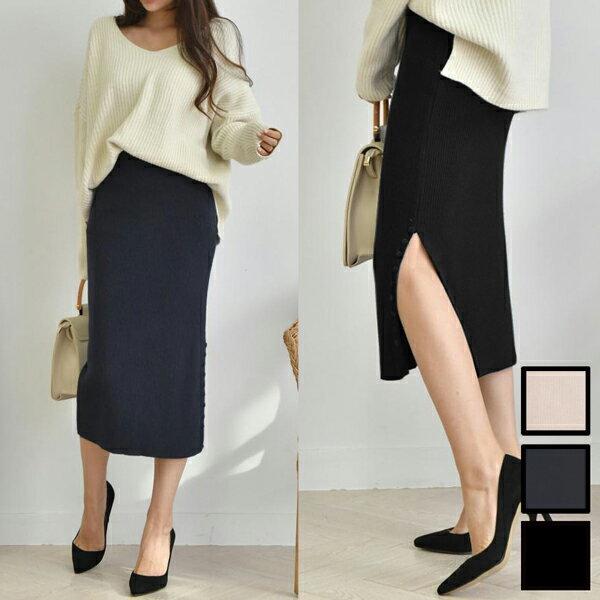 サイドスリット デザインボタン ウール混ニットスカート
