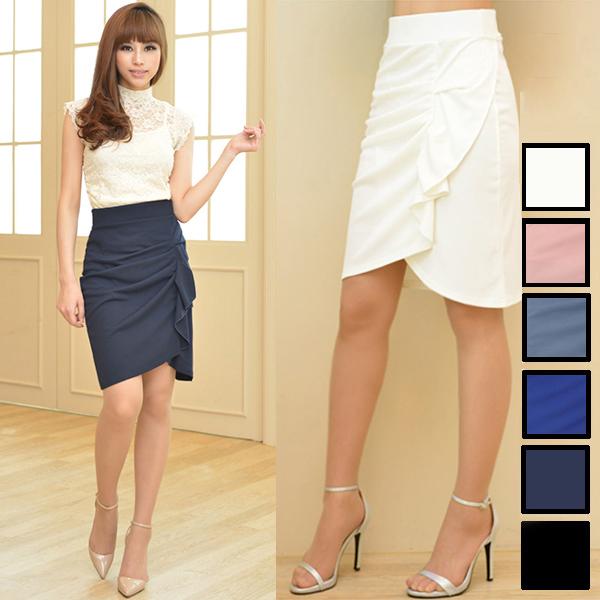 【一部予約】デザインラッフル&ギャザー チューリップタイトスカート